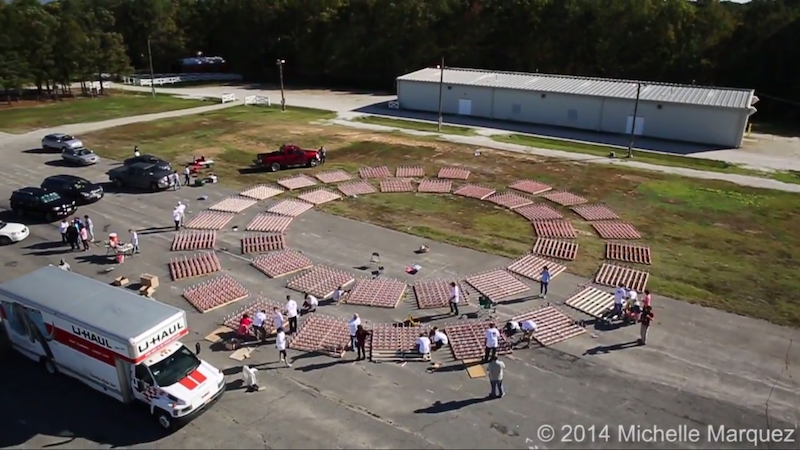 This Photo Was Taken By The Drone.  Almost All Of The Launch Pads Were Set Up At This Point.